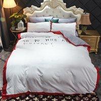 Red Green Letter Printed Cotton Bedding Sets Queen Size Super Soft Bed Sheet Set Duvet Cover