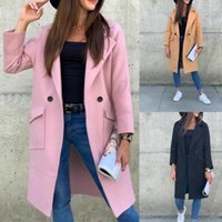 الخريف الشتاء النساء الصوف معطف الصلبة لون التلبيب طوق سترة الركبة طول الصوف يمزج معاطف
