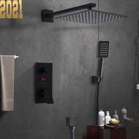 Matte Black Bathroom Shower Faucet Set Digital Display Rain Bath System Waterfall Bathtub Mixer Tap Sets