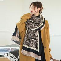 Шарфы дизайнерская буква нашивка двухсторонний толстый кашемировый шарф мода свадебный шаль роскошный зимний теплый шелкольник одеяло