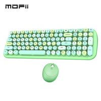 MOFII Green Wireless Keyboard Combo Round Mix Keycaps Office PC Tastiere e mouse set per Girl Computer Laptop Game