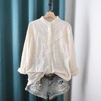 Blusas das mulheres Camiseta Lamtrip Orninais Girassóis Completos Bordado Carrinho Colarinho Algodão Camisa de Manga Longa Blusa