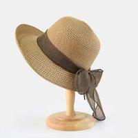 夏の帽子のための夏の帽子の折りたたみられたわらストローの夕日の広い縁のフロッピークロシェ帽子休暇のビーチスタイルのChapau Paille Femme