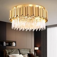 Chandeliers Luxury Modern Ceiling Chandelier Living Room Gold chrome Stainless Steel Crystal Lamp Round Bedroom Dining Decro Lighting
