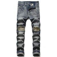 Men's Jeans Fashion Quality Men Casual Ripped Autumn Washed Straight Slim Motorcycle Biker Denim Pants Male Trousers