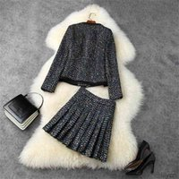 Two Piece Dress European and American women's wear winter style Long-sleeved beaded tweed coat Pleated skirt Fashion black suit
