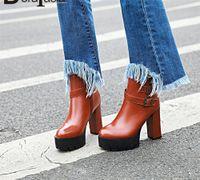 Doratasia 34 43 Nouvelle boucle de la ceinture de mode Dames Haute Talons Bottes de plateforme Femmes Zip Party Office Boots Bottes Chaussures Femme 2020 71C9 #