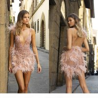 Berta Prom Dresses Sexy See Through Sequins Beaded Feather Evening Gowns Spaghetti Straps Mini Pink Short Special Occasion Dress