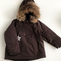 Down Coat MINI A T Brand 2021 Winter Kids Thick Baby Boys Girls Cute Hooded Real Fur Warm Jacket Toddler Cotton Outwear Ski Suit
