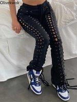 Olivekwok 2021 mujer moda pantalones sólidos sexy hueco fuera causal flaco ojal mujer jeans Q0802