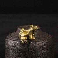 Figurines Miniatures de grenouilles en laiton Figurines Vintage Cuivre Animal Ornements Accueil Décor Kawaii Cadeaux Y1141