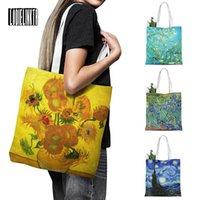 Katlanabilir Yeniden Kullanılabilir Alışveriş Çantası Kadın Seyahat Omuz Bakkal Çanta Çanta Yeni Van Gogh Yağlıboya Tuval Tote Retro Sanat Moda Seyahat WO