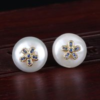 Navy Blue Cz Micro Pave Tiny Flower Charms Natural Coin Freshwater Pearl Bead Charm Button Unisex Stud Earring For Wedding Gift