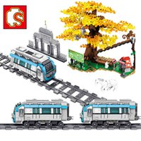 SEMBO City Train Station Animals Figures Zoo BJMTR Subway Technical Car Railway Track Tree Building Blocks Bricks DIY Kids Toys X0503