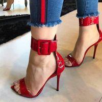 PZILAE 2020 Мода Женщины Сандалии Красные Патентные Кожа Сандалии на высоком каблуке Женщины Открытые Носки Лодыжки Пряжка Ремень Сексуальные Женские Обувь Вечеринка Сексуальные Обувь Для O7ZJ #