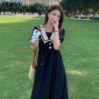 Robe noire de grande taille Femme Femme Vent doux Jupe longue graisse MM Température mince Tempéramment Jupe à manches courtes JXMYY 210412