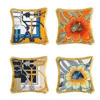 Cubierta de almohada de la impresión de la silla de montar de lujo Estilo europeo Caja de la almohada de la tasela Sofá Sofá CUBIERTE DE CUJIZA DE CUBICIÓN