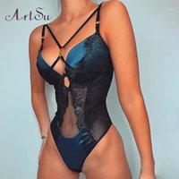 Старинные кружевные тела женщины носовые одежды Bodycon Rompers сексуальное тело костюмы женские без рукавов без рукавов костюм тела синие прыжки