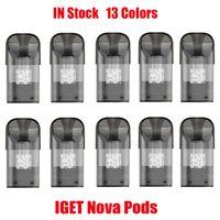 Orijinal Iget Nova Pod Kartuşu Bomba 2 ML E-Sigara Pods Değiştirilebilir Tedbir Vape Sopa Kalem 13 500 Puffs Cihazı için Seçenekler Tek Kullanımlık Kiti 100% Otantik