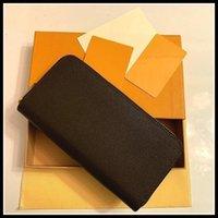 Großhandel 6 Farben Mode Brieftasche Einzelne Reißverschluss Designer Männer Frauen Leder Brieftasche Dame Damen Lange Geldbörse mit orange Box Karte 60017