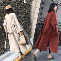 Women's Wool & Blends Casual Solid Women Winter Coats 2021 Long Single Breasted Loose Blend Coat And Jacket Pockets Elegant Autumn