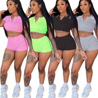 Women Tracksuits Fashion Sexy Two Piece Set Jogging Suit Solid Color Short Sleeve High Waist Top Shorts Outfits