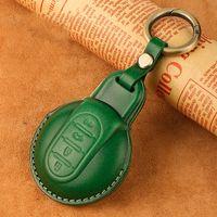 اليدوية الجلود سيارة مفتاح حالة تغطية حقيبة مفتاح لسيارات بي ام دبليو ميني كوبر مع حماية الملحقات حلقة رئيسية التصميم السيارات (أخضر / أحمر)