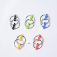 プッシュキーホルダーフィジットスピナージャイロハンドメタル玩具フィンガーキーリングチェーン伸縮不安のための玩具のおもちゃ5色HWF9985