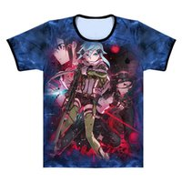 Herren T-Shirts Anime Periphere Sword Art Online Sinon Tod Gun ML18 Kurzarm 3Dt Hemd Sommer