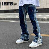 Jeans d'IEFB pour hommes lâche lavabo splash encre marée marée haute rue déconstruction micro trompette pantalons décontractés pantalons 9Y5257