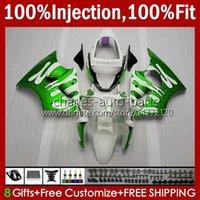 Cuerpo de molde de inyección para Kawasaki Ninja ZZR600 Blanco NUEVO ZZR-600 600 CC 05-08 Cuerda corporal 100% FIT 38HC.103 GREEN ZZR 600 2005 2006 2007 2008 600cc 05 06 07 08 Kit de carenado OEM
