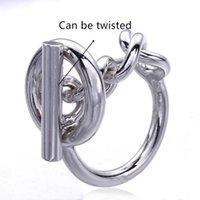 Anillo de cadena de cuerda de plata 925 con aro para mujeres Francés Popular Cierre de cierre de plata de ley Fabricación