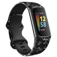 Patroon Afdrukken Straps Horlogeband Zachte Siliconen Bands Armband Sportriem voor Fitbit Charge 5 Charge5 Horloge Vervanging Smart Accessoires