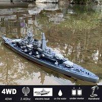 """Scala da 1/360 da 28 """"Pollice con telecomandata Battleship della nave da guerra RC Ship 20-25km / h On Lakes Pools mostra modelli per bambini bambini X0522"""