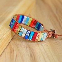 Handmade jóias envoltório de couro pulseira de pedra natural miçangas 7 chakra pulseira charme braceletes casais presentes