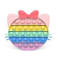 Party Rainbow Cat En forma de Fidget Fidget Push TI PUSH IT HUMP HUJA RESISTENTE TOYE SOFT SOFTSORY SENSORIO REPETRABLE REGALO DE REGALO INTERACTIVE juego