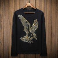 Langarm Trend Bohrer Kleidung Tops Eagle Männer Körper Dekoration T-Shirt Große Größe Unterhose Sozialer Kerl