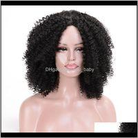 Kadınlar için Kahverengi Kıvırcık 4 Renkler Ombre Kısa Afro Peruk Afrika Amerikan 14 inç Siyah Saç Tkass OicJF