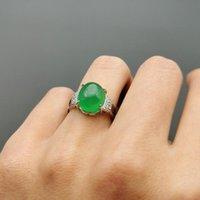 Cluster Rings Jadery Silver Vintage Natural Green Jade Ring Open 100% 925 Sterling Gemstone Emerald Wedding Fine Jewelry