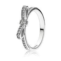 فتاة 925 الفضة الاسترليني الفضة تألق القوس الدائري مجموعة مربع الأصلي ل باندورا الحبوب النساء الزفاف تشيكوسلوفاكيا الماس bowknot 18k ارتفع خواتم الذهب