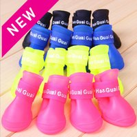 Dog Apparel 4pcs   set Pet Rain Shoes Dogs Rubber Portable Anti-slip Waterproof For Pets