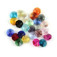 2021 2000/lot 14mm Many Colors Octagon Beads Prism In 2 Holes For Crystal Chandelier Parts Home/Wedding Decoration
