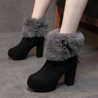 Boots Women's ankle black flannel boots adult fashion fall short teddy sliding-on women's in high heels shoes G86N