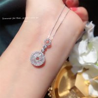 Choucong Brand New Sweet Cute Luxury Jewelry 925 Sterling Silver Circle Pendant Party Princess Cut White Topaz CZ Diamond Clavicle Necklace