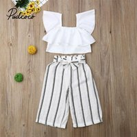 Clothing Sets 2PCS Toddler Kids Baby Girls Summer Outfits Ruffle Sleeveless Crop Top+Striped Wide Leg Long Pants Clothes Set 2-7 Years