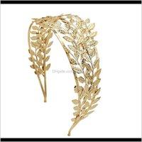 Tiaras Goddess de griega Pelo Tiara Nupcial Crown Crown Deedband Gold Leaf Branch Sucursal Sier Roman Boda Joyería Accesorios para Wome BQ5A1