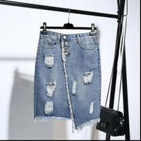 Kvinna kjolhål oregelbunden denim kvinnlig sommar mode avslappnad stor storlek lös vildväska hip hög midja ett ord