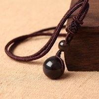 12 mm piedra natural negro obsidiana arco iris perlas de ojos pelota colgante transferencia afortunado amor cristal joyería con cuerda libre para mujeres hombres 3032 q2