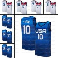 Devin 15 Booker Damian Lillard Kevin 7 Durant Basketball Jerseys EUA 2021 Olímpicos de Verão Jayson 10 Tatum Branco Marinha Jerseys Z13