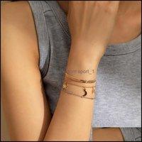 Jewelrymixed Color Star Moon Tassel Charm Bracelets Imitation Pearl Crystal Snake Chains European Women Copper Handmade Party Bracelet Jewel